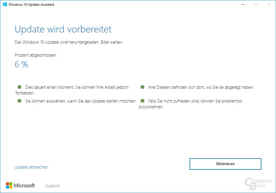 Der Update Assistant für Windows 10 Version 1703 -Vorbereiten