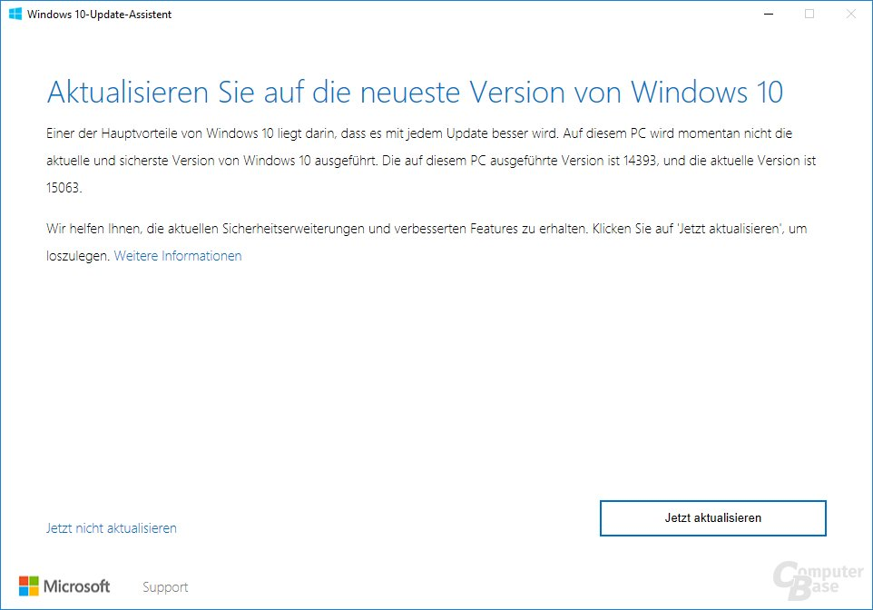 Der Update Assistant für Windows 10 Version 1703