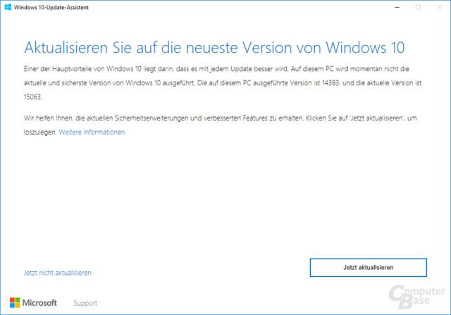 Der Update Assistant für Windows 10 Version 1703