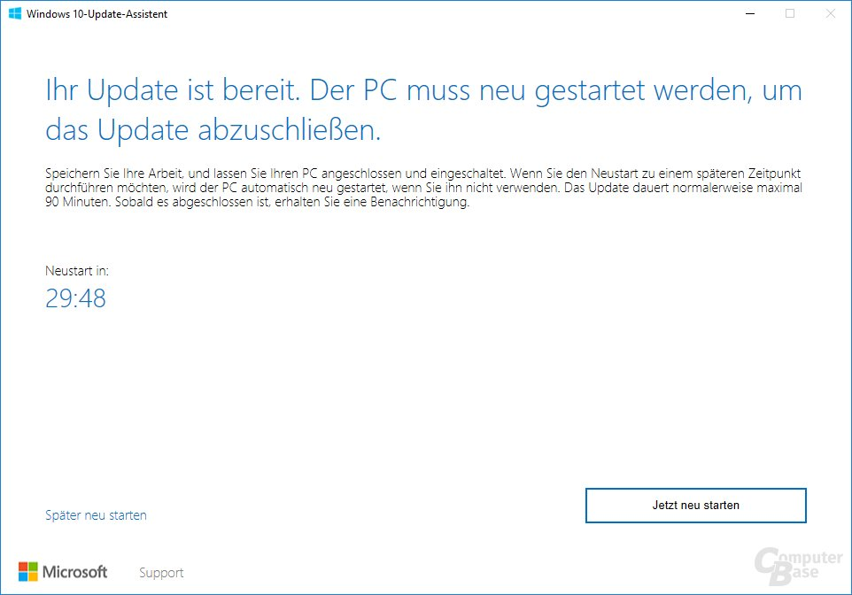 Der Update Assistant für Windows 10 Version 1703 - Neustart