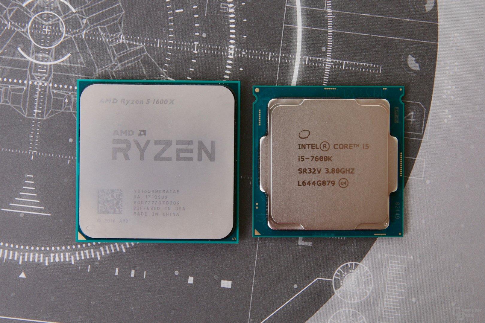 AMD Ryzen 5 für AM4 ist im Vergleich zu Core i5 im Sockel 1151 deutlich größer