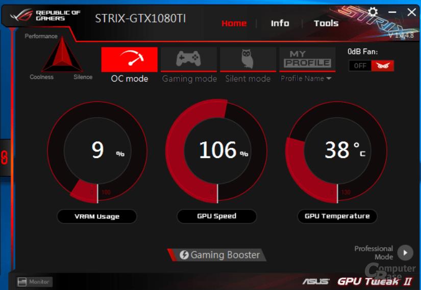 Die Asus GTX 1080 Ti Strix im Tool GPU Tweak II
