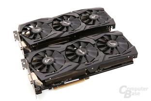 Asus GeForce GTX 1080 Strix OC mit neuem Kühler (oben)