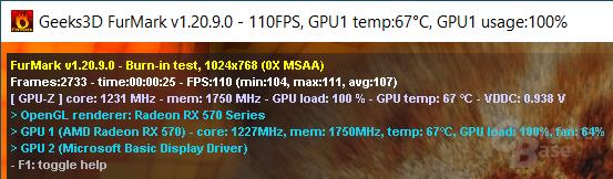 FurMark – GPU-Taktraten und weitere Daten werden während des Tests ausgegeben