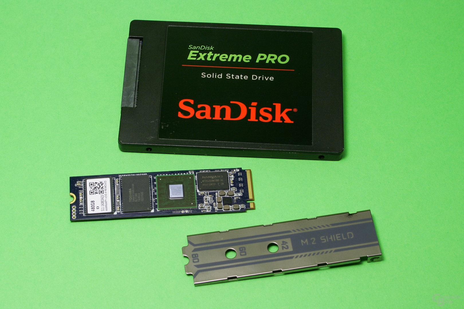 "2,5""-SSD, M.2-SSD und MSI M.2 Shield"