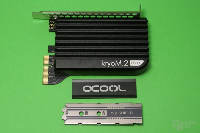 Aqua Computer kryoM.2 evo, Alphacool HDX M.2 und MSI M.2 Shield