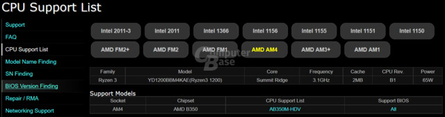 Ryzen 3 1200 in CPU-Support-Liste von ASRock