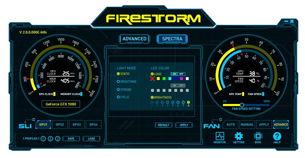 Zotac Firestorm Spectra zur Konfiguration der LED-Beleuchtung