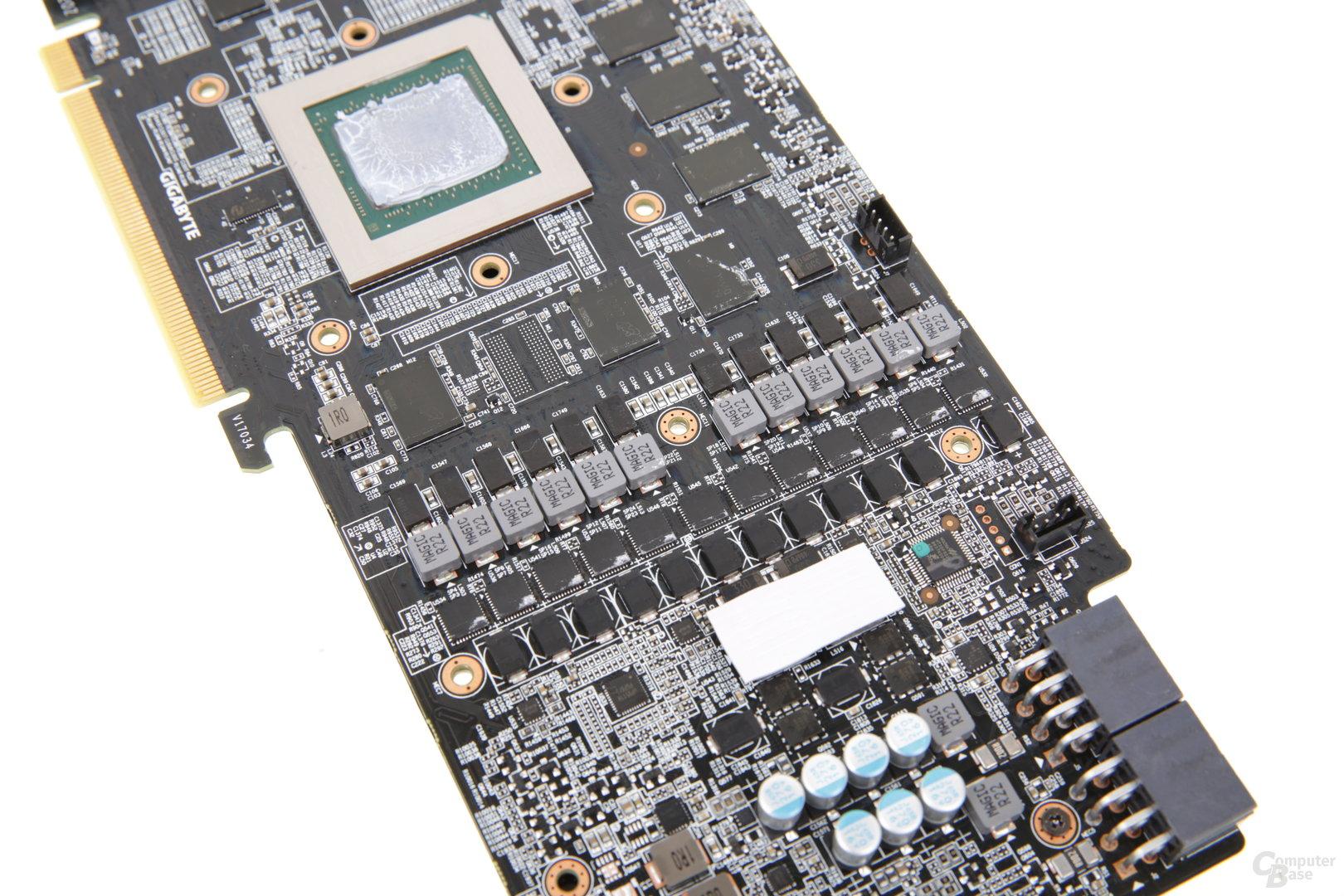 12-Phasen-Spannungsversorgung für GPU und Speicher