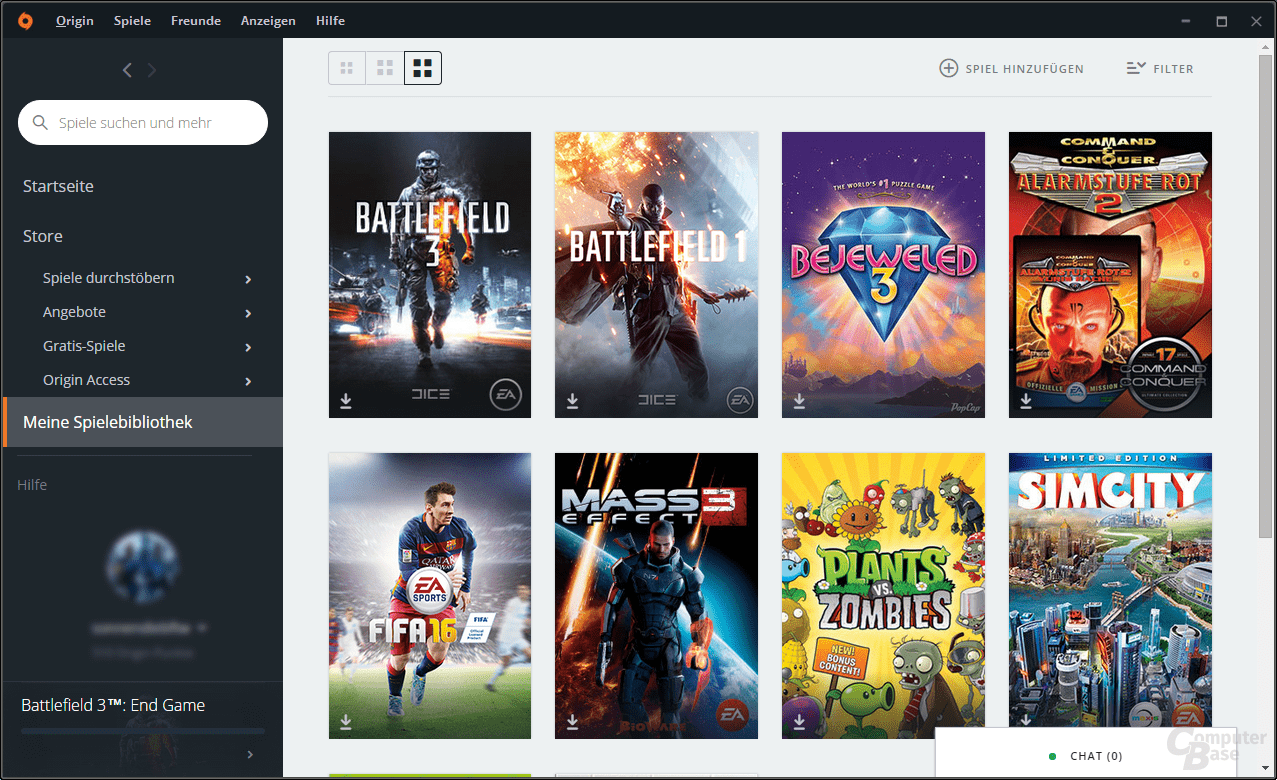 Origin – Spielebibliothek