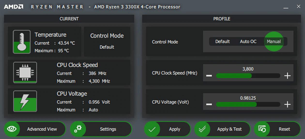 AMD Ryzen Master – Grundansicht