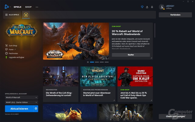 Battle.net – Startmenü
