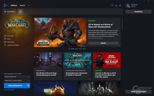 Battle.net – Startmenü