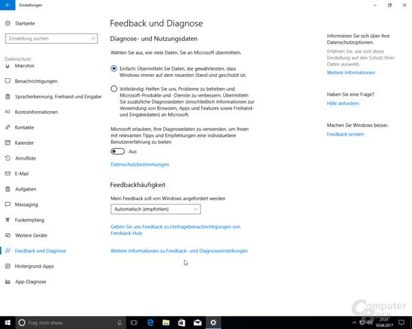 Windows 10 Creators Update: Neue Auswahl bei den Diagnose- und Nutzungsdaten