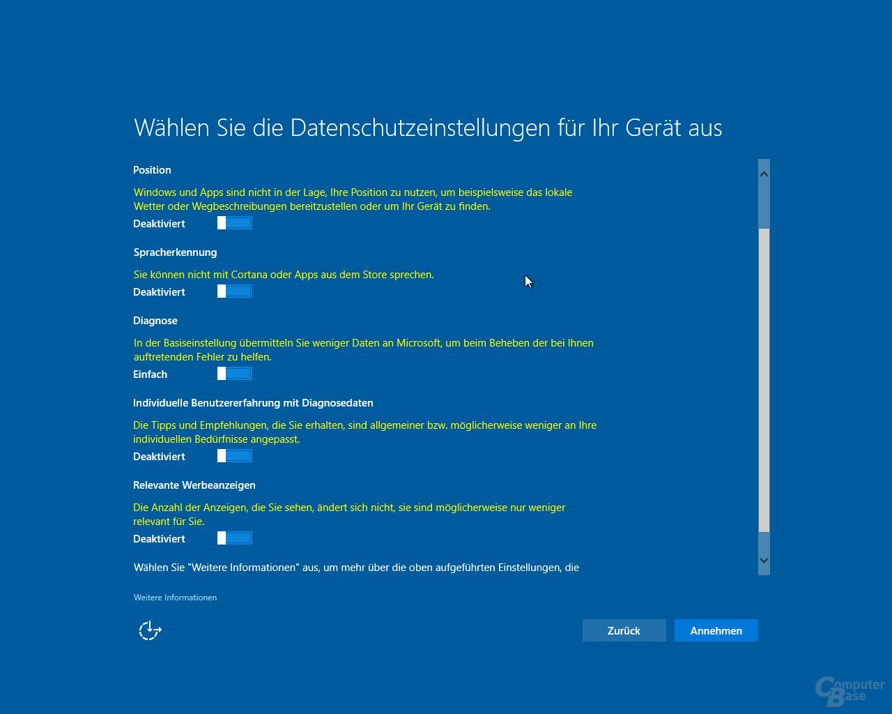 Windows 10 Creators Update: Datenschutz-Setup