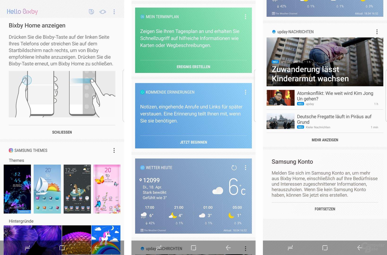 Bixby Homescreen für Termine, Wetter, Erinnerungen und Nachrichten