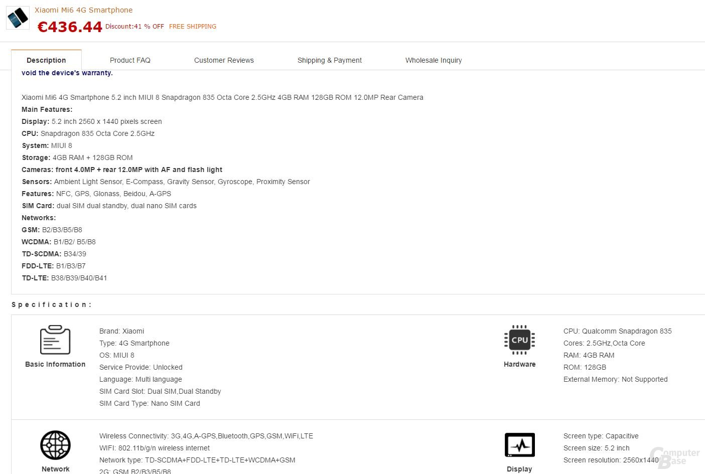 Xiaomi Mi6 auf Gearbest
