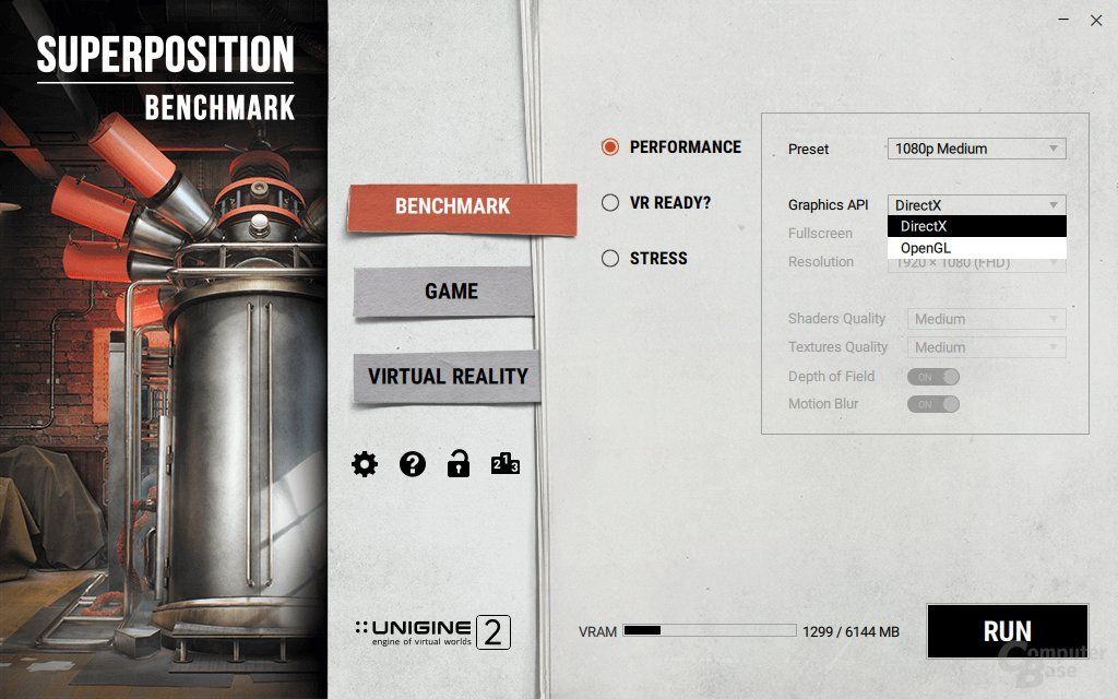 DirectX 11 und OpenGL werden geboten, erweiterte Einstellungen nur für Pro-Nutzer