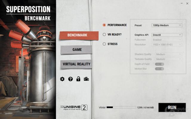 Zur Auswahl stehen der 3D-Benchmark, Mini-Spiele und der VR-Tests