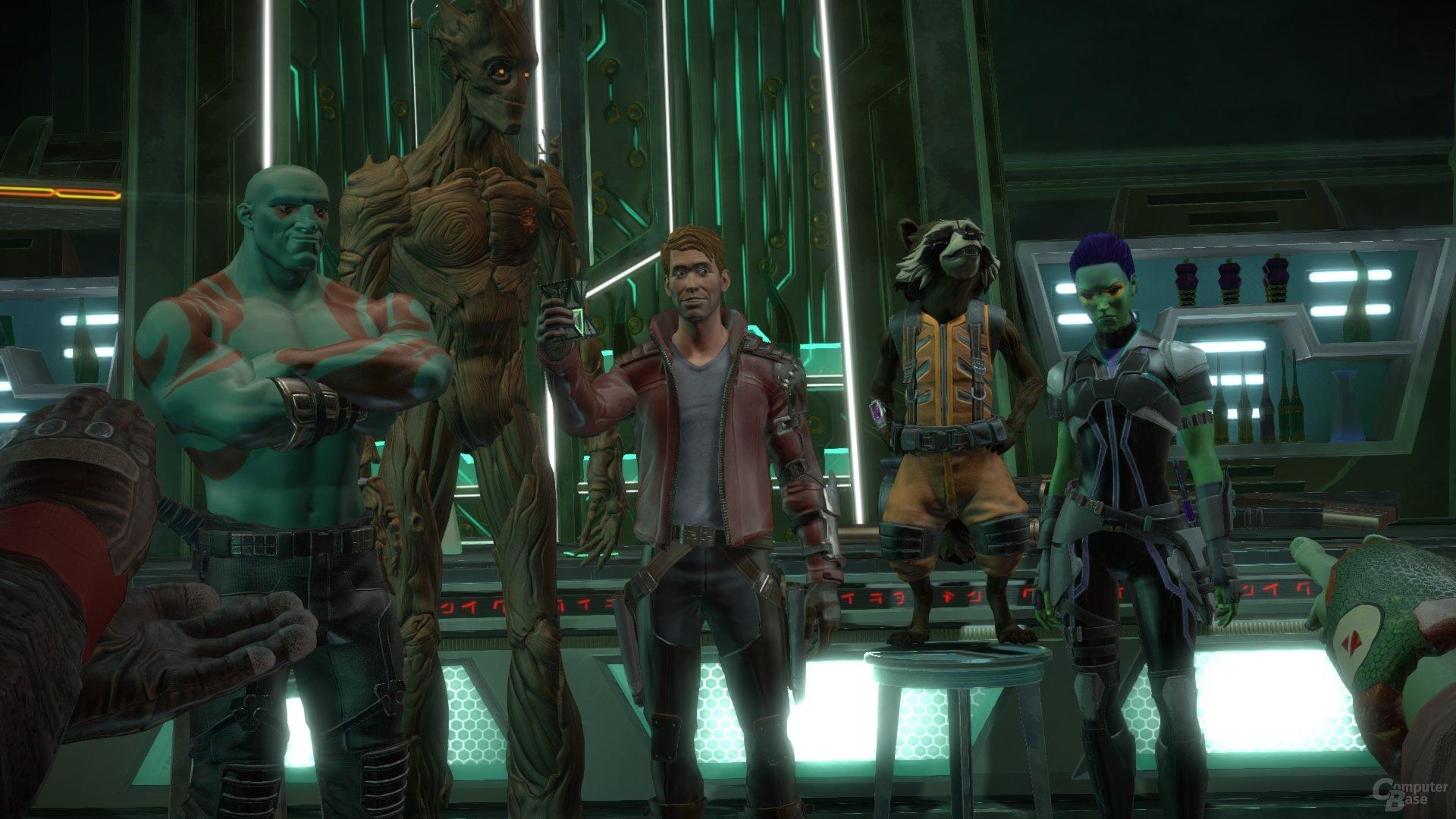 Die fünf Helden in einer Space-Bar
