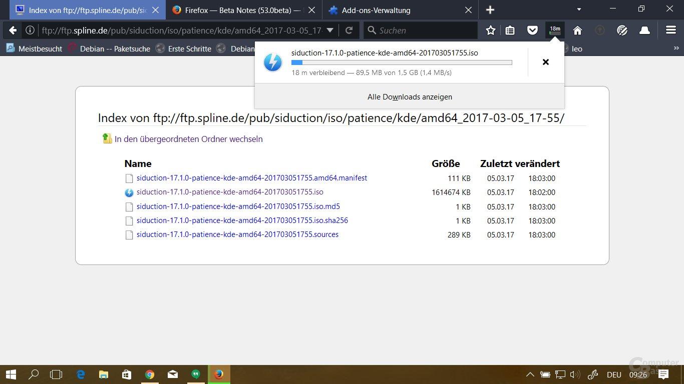 Aufgewertete Download-Anzeige