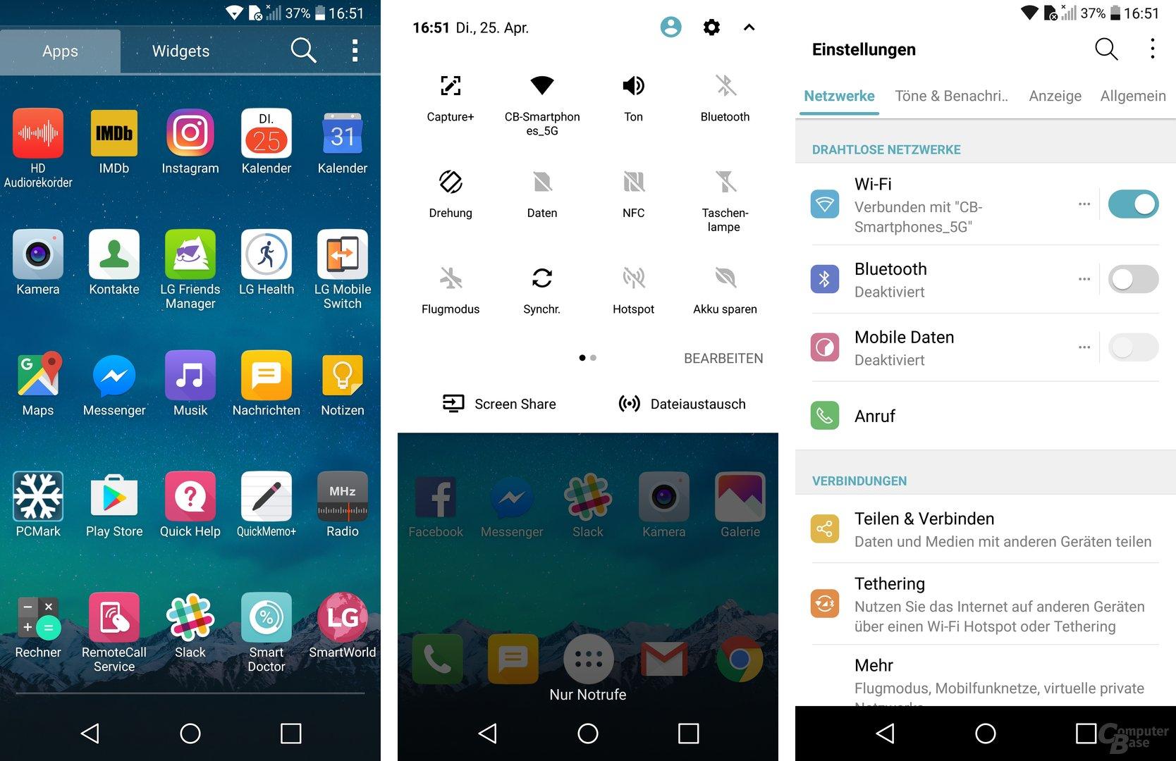 App-Drawer, Schnelleinstellungen und vollwertige Einstellungen des UX 6.0