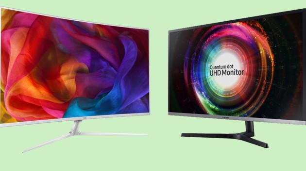 UHD-VA-Monitore: Krumme 40 Zoll von AOC und plane 32 Zoll von Samsung