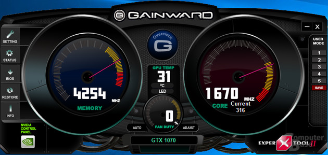 Gainward ExperTool II - Startbildschirm