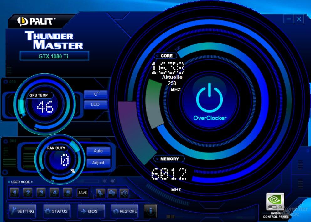 Drei Profile je BIOS stehen über Palit ThunderMaster bereit