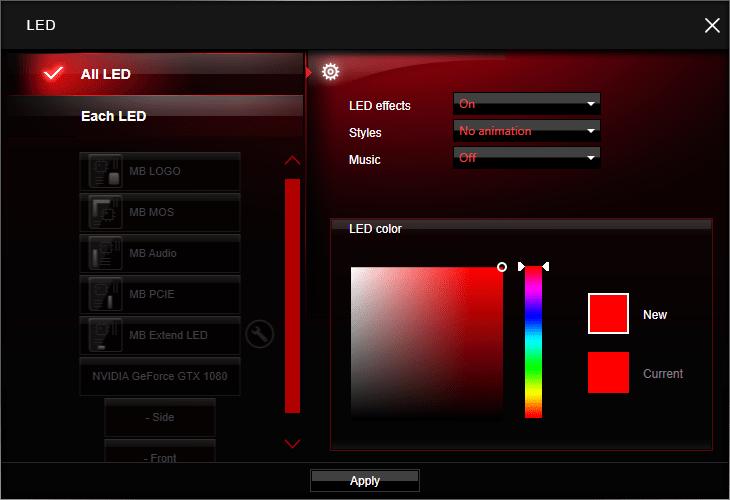 Einstellung der LED-Beleuchtung auf Grafikkarten von MSI