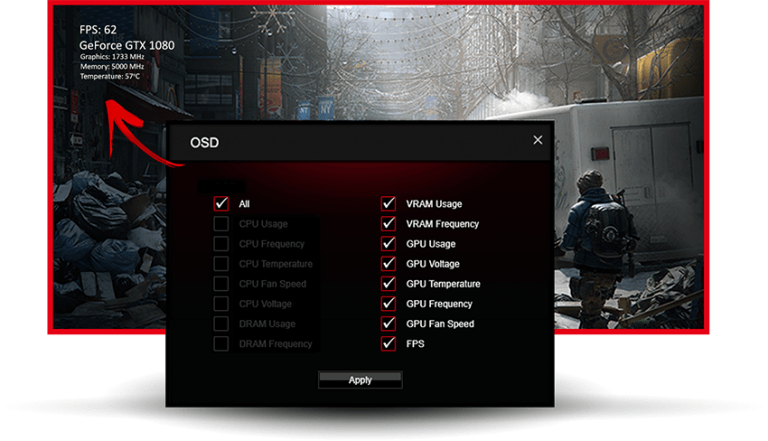 Darstellung eines On-Screen-Displays in Spielen