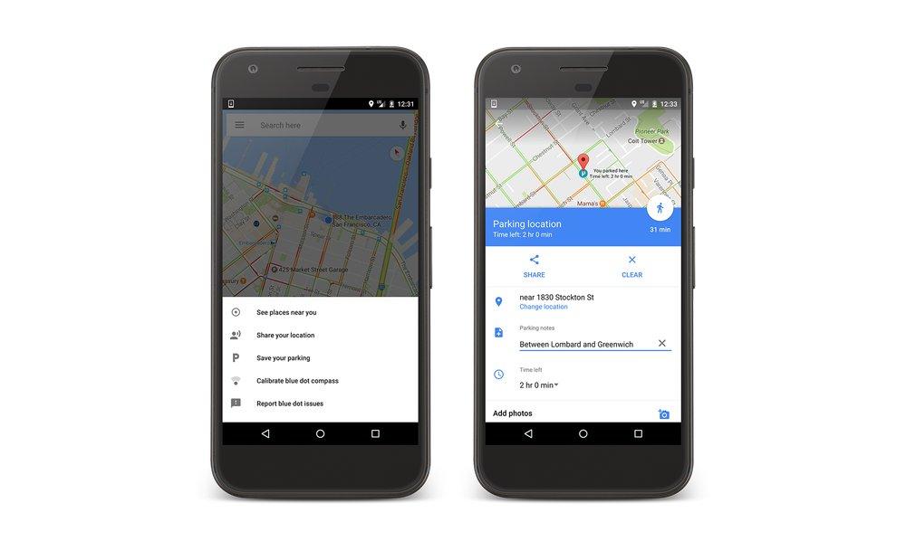 Parkplatzmarkierung in Google Maps für Android und iOS