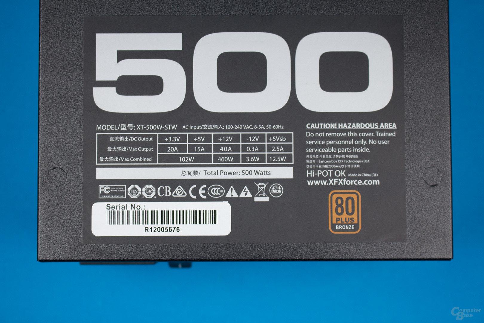 XFX XT500 (erste Revision) – Lastverteilung