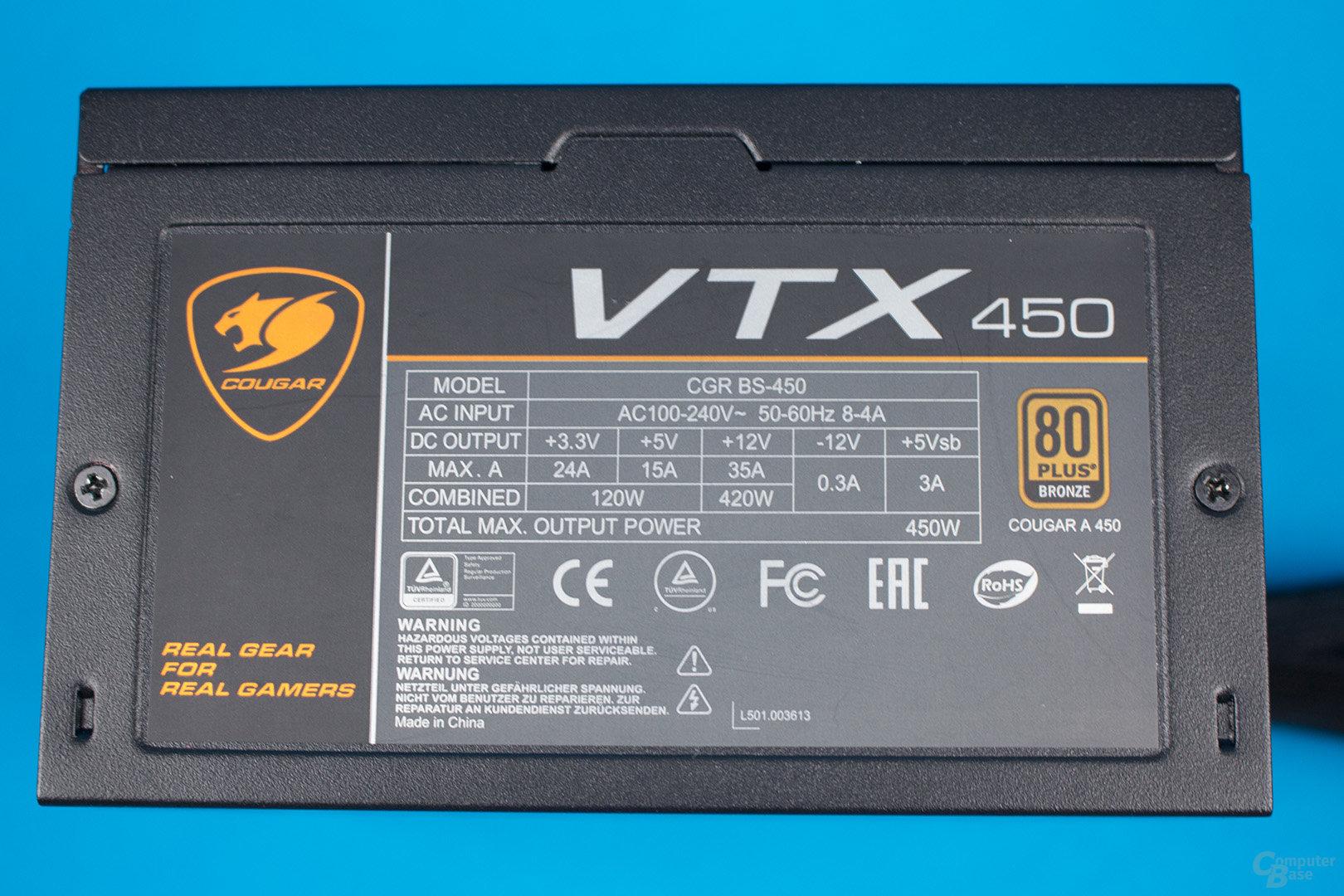 Cougar VTX 450W – Lastverteilung