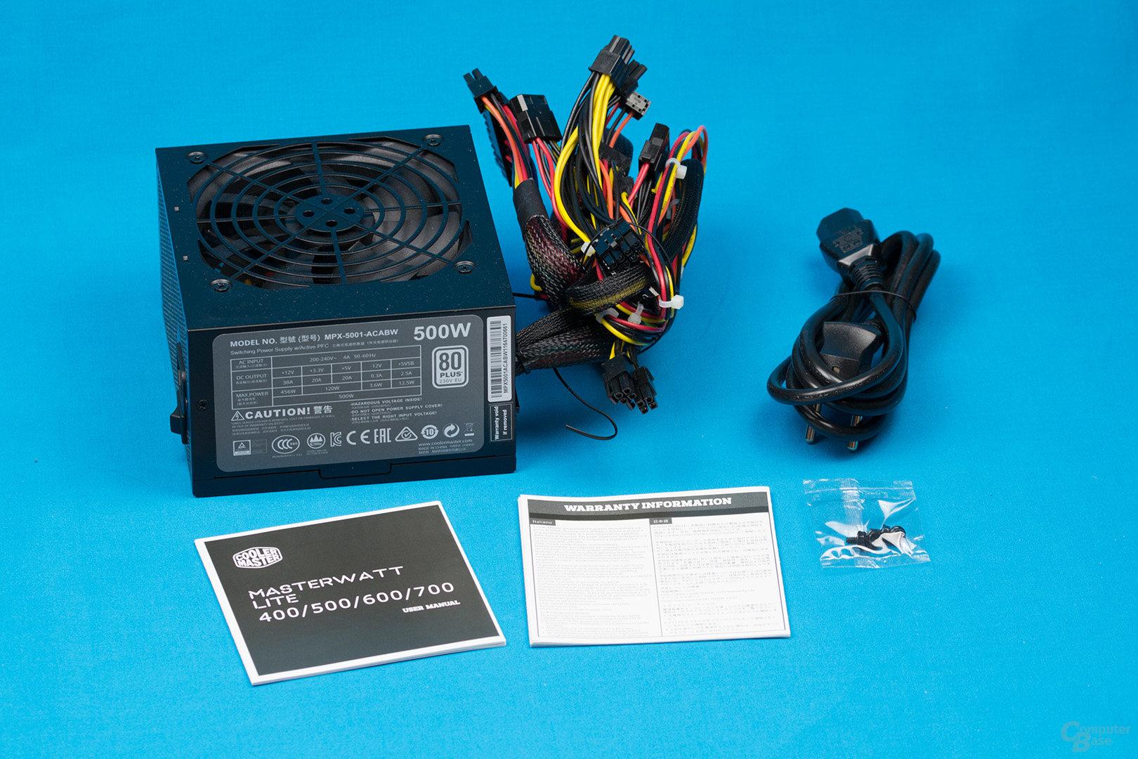 Cooler Master MasterWatt Lite 500W – Packungsinhalt