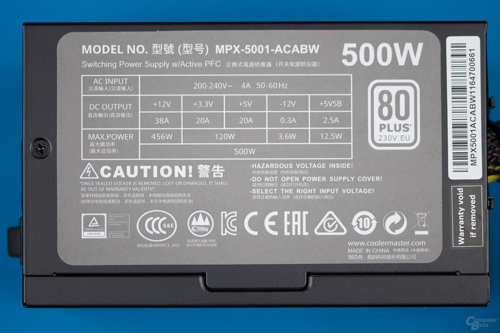 Cooler Master MasterWatt Lite 500W – Lastverteilung