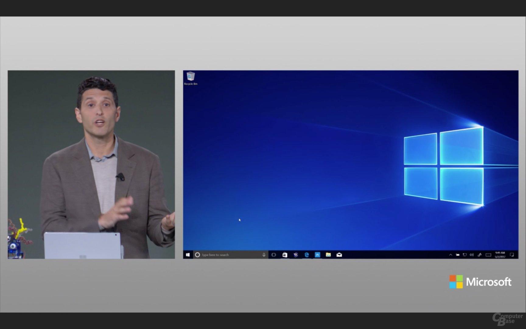 """Auch der Hintergrund wurde ggü. Windows 10 """"entschlackt"""""""