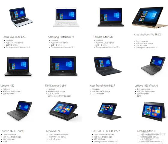 Übersicht: Notebooks mit Windows 10 S