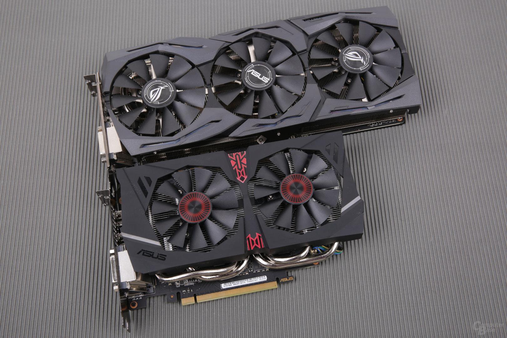 GTX 1060 9 Gbps (unten) und GTX 1060 Strix OC (oben)