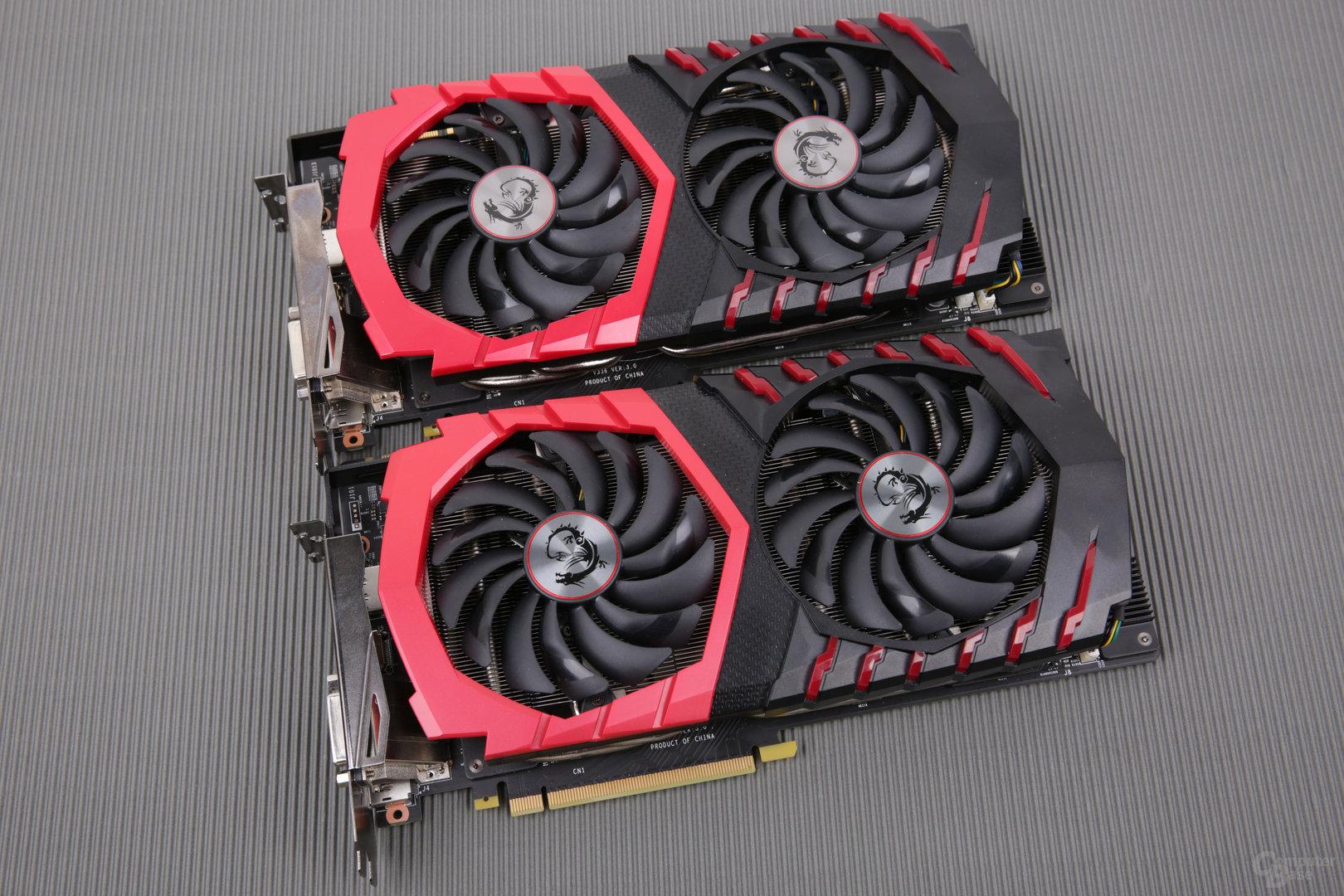 GTX 1080 Gaming X+ (unten) und GTX 1080 Gaming X (oben)