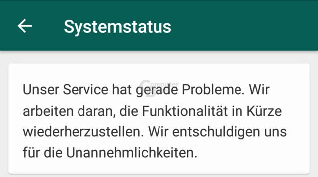 Systemstatus bestätigt Probleme bei Whatsapp