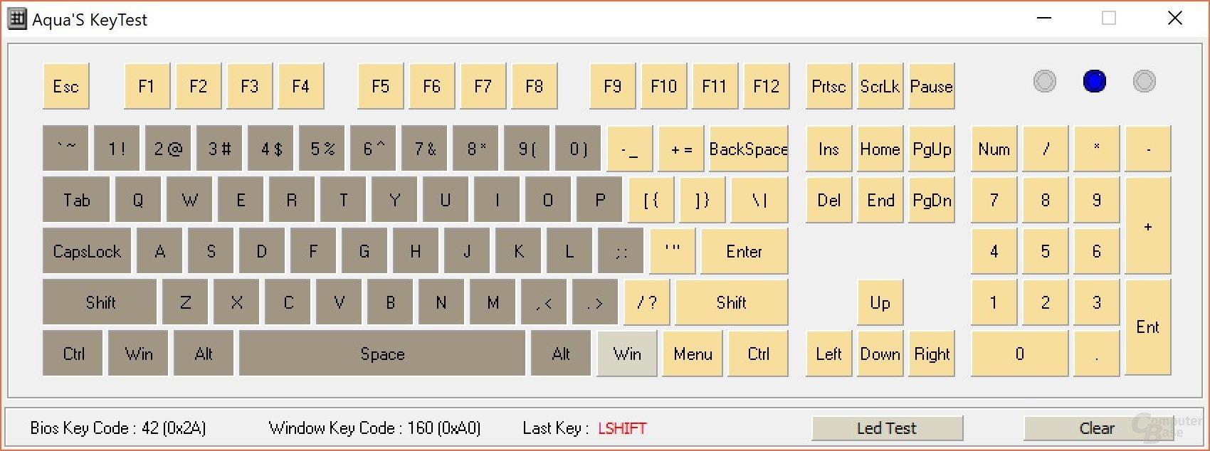 """N-Key-Rollover (""""KRO"""", Anzahl mindestens gleichzeitig zu drückender Tasten)"""