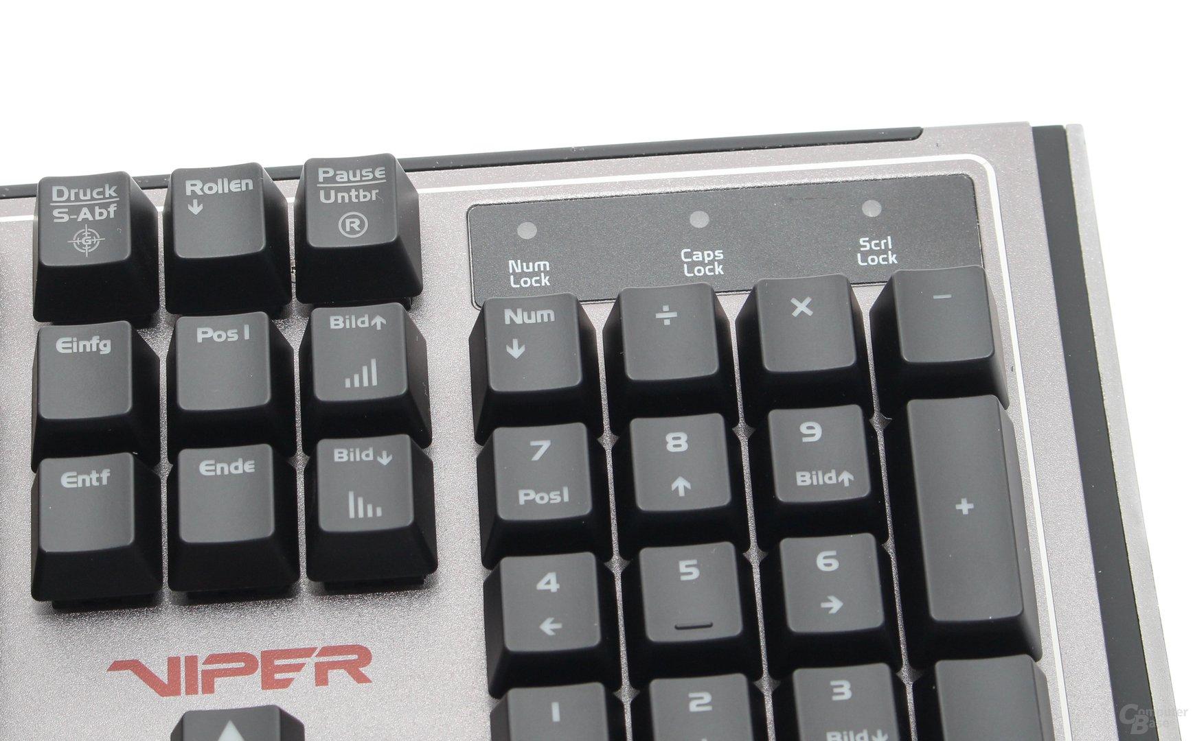 Status-LEDs, Reset-Funktion (F12),  Spiele-Modus, Effektgeschwindigkeit