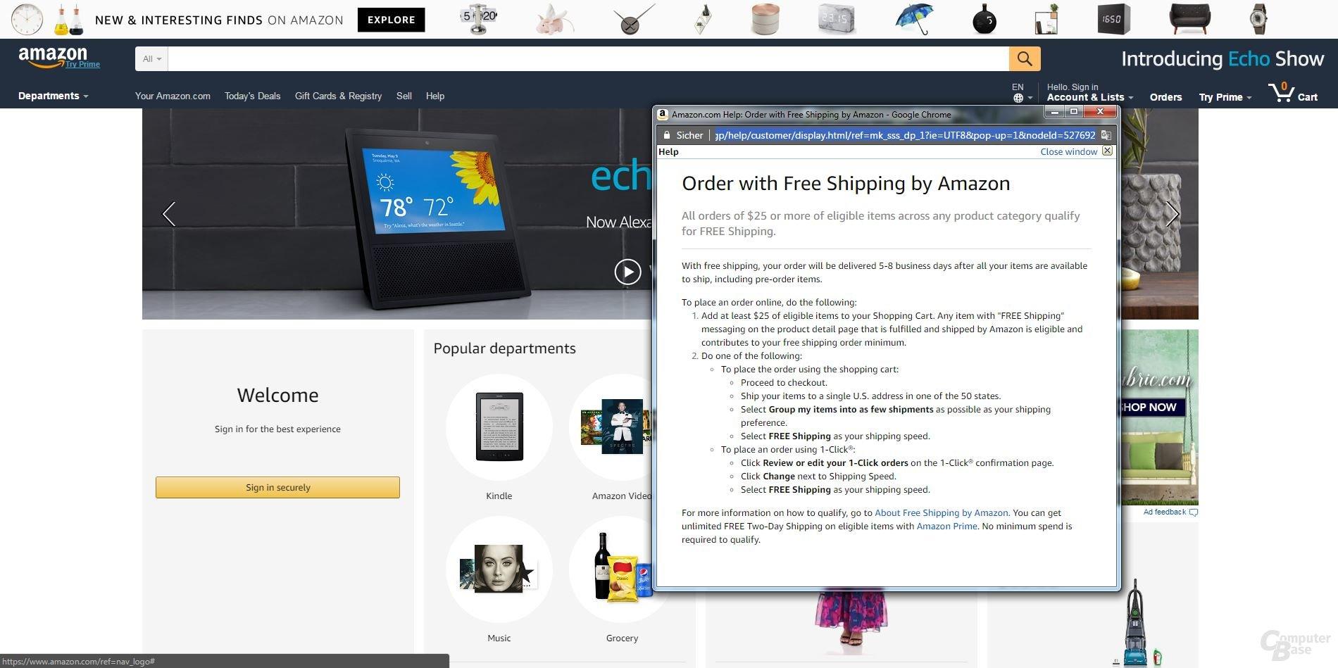 Amazon.com Mindestbestellwert 25 Dollar