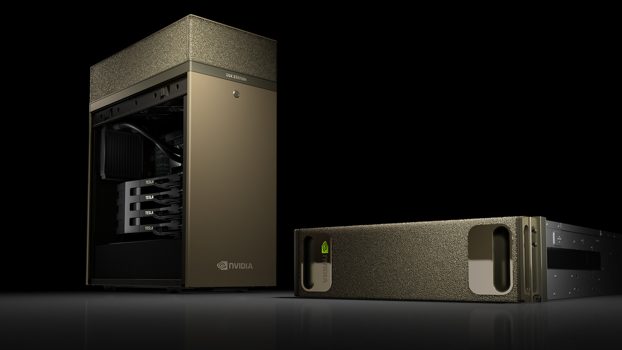 Nvidia DGX Station: Vier wassergekühlte Tesla V100 als Mini-Supercomputer