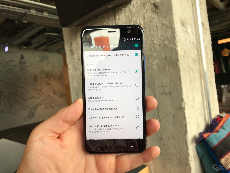Als Druckaktion können Apps oder die Taschenlampe hinterlegt werden