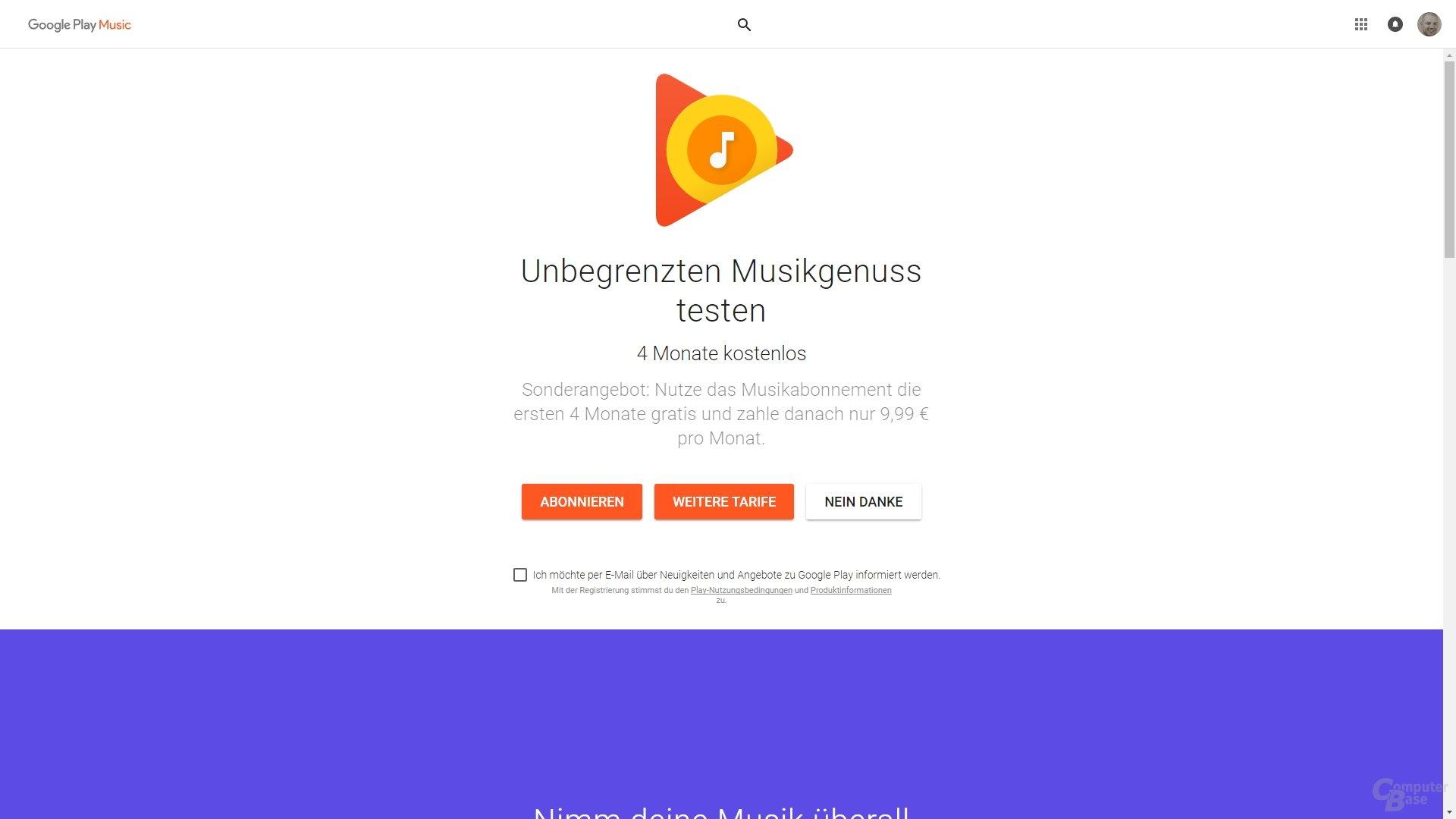 Google Play Music – 4 Monate statt 30 Tage kostenlos