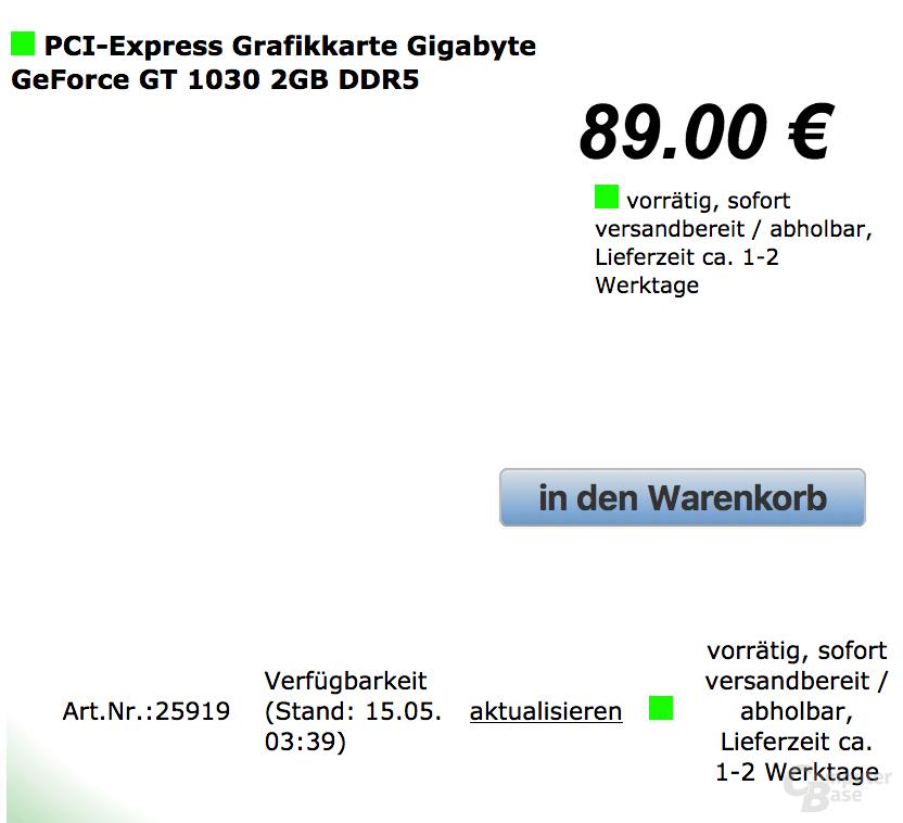 GeForce GT 1030 in Deutschland verfügbar