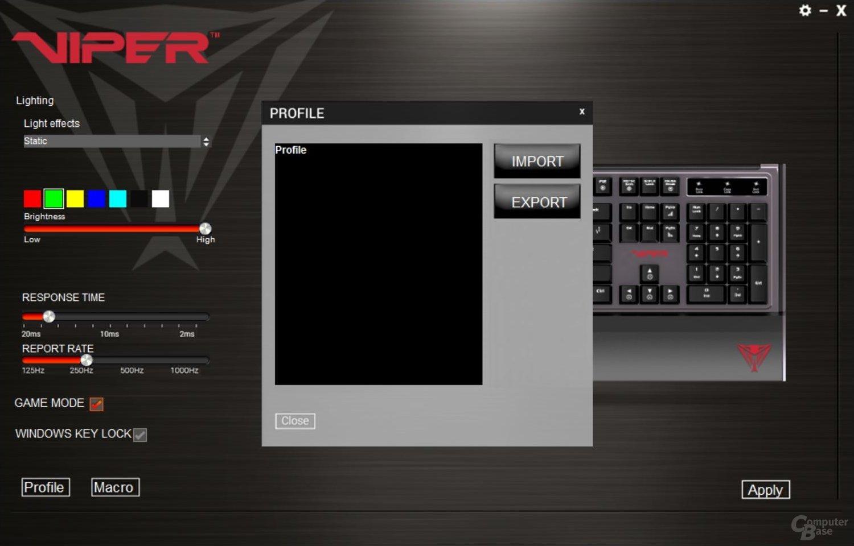 Die Tastatur speichert nur ein Profil, weitere müssen via Import/Export verwaltet werden