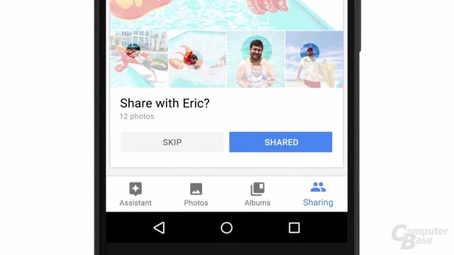 Google Photos macht Vorschläge zum Teilen von Bildern